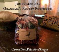 Grandmas Pantry Potpourri Jumbo Bag filled with Cinnamon Sticks Pods Orange Peel and Allspice Scented Cinnamon Apple Spice by crowsnestprimitive on Etsy