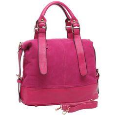 MG Collection SELAH Pink Designer Inspired Suede Tote Style Satchel Handbag