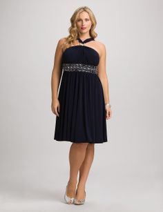 Plus Size | Dresses | Plus Size Sequined Halter Dress | dressbarn