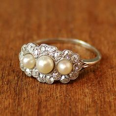 Vintage Rings Alice Pearl and Diamond Vintage Engagement Ring by . Vintage Rings Vintage Style Wedding Ring with Filigree, RG Unusual Engagement Rings, Vintage Engagement Rings, Diamond Engagement Rings, Engagement Rings With Pearls, Wedding Engagement, Artisan Jewelry, Antique Jewelry, Vintage Jewelry, Antique Gold