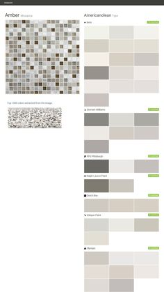 Amber. Mosaics. Type. Americanolean. Behr. Sherwin Williams. PPG Pittsburgh. Ralph Lauren Paint. Dutch Boy. Valspar Paint. Olympic.  Click the gray Visit button to see the matching paint names.