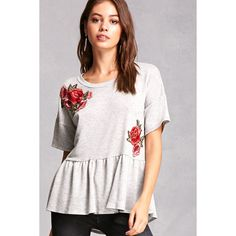 Forever21 French Terry Floral Top ($35) ❤ liked on Polyvore featuring tops, grey, french terry tops, flounce tops, ruffle top, grey top and short sleeve ruffle top