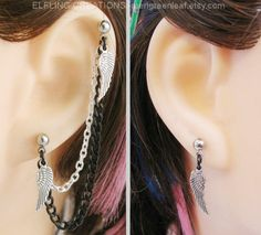 Feather Wing Cartilage Chain Earrings Pair Silver by merigreenleaf, $9.99