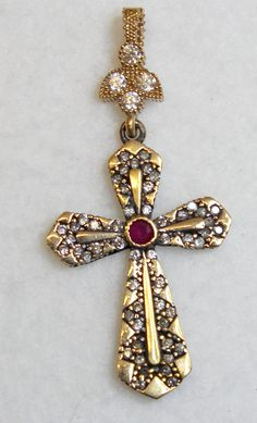 925 Sterling and Vermeil Pendant Cross with Ruby & Zircons Islamic Prayer, Ruby Stone, Silver Filigree, Crucifix, Cross Pendant, Belly Button Rings, This Or That Questions, Chain, Beads