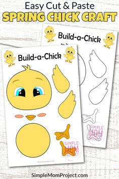 Spring is an ideal time to share in all things cute, fun & creative - so this easy cut and paste baby chick craft will bring lots of laughter & excitement for your kids craft time. With free printable baby chick templates, your toddlers & preschoolers will have the choice to color their own baby chick or craft our pre-colored template. Baby chick crafts have always been super popular in our house so now it's time for your kids to share in the fun! Farm Animal Crafts, Animal Crafts For Kids, Fun Crafts To Do, Easy Crafts For Kids, Toddler Preschool, Preschool Crafts, Printable Crafts, Free Printable, Bunny Templates