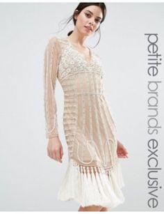 maya-petite-all-over-embellished-mesh-mini-dress-with-heavy-tassel-hem by maya #dress #fashion #trends #onlineshopping #shoptagr