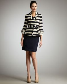 bow-back cropped pea coat & judy straight skirt by kate spade new york at Neiman Marcus.