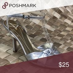 Kate Spade Size 5 Silver Metallic High Heels Kate Spade Size 5 Silver Metallic High Heels Strappy Ankle Strap Sandals  *See pics for wear.   Size: 5 Kate Spade Shoes Heels