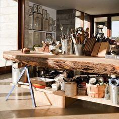 Kitchen island, log home, fallen tree upcycle, narrow island, natural kitchen, indoor/outdoor, log island