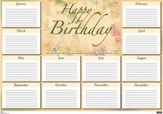 Wall Charts / Large Format Adult Birthday Chart