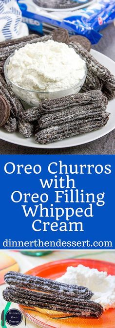 OREO Churros are crispy, tender, perfectly chocolate-y and perfectly paired with OREO filling whipped cream dip for dunking and a party tutorial for a Carnival themed Basketball Party! AD. Now you can have the viral recipe made easy. #GreatTasteTourney