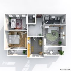 3d interior rendering plan view of furnished home apartment with two balconies