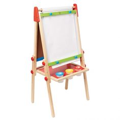 All-in-One+Easel+-+Chalkboard,+magnetic+dry+erase+board+&+art+paper+from+<em>Hape</em>