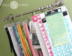 DIY Craft Ribbon and Sticker Organization [Tutorial] : towel bar + S-hook + binder rings... very clever!