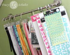 DIY Craft Ribbon and Sticker Organization [Tutorial] : towel bar + S-hook + binder rings... very clever!