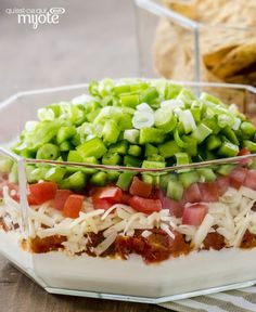 We made over our favourite layered dip. It's lighter and tasty as ever! Call up the gang and share this yummy appetizer dip. Tap or click photo for this easy Favourite Layered Dip Quick And Easy Appetizers, Easy Appetizer Recipes, Appetizer Dips, Yummy Appetizers, Snack Recipes, Snacks, Dip Recipes, Savoury Recipes, Recipies