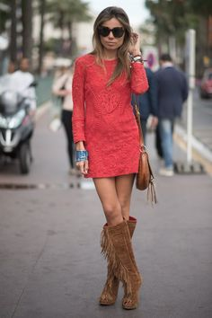 Pin for Later: Turns Out, It Isn't About the Guys at All at Men's Fashion Week Summer Street Style Channel the bohemian vibe with fringed booties and an embroidered mini — how very Isabel Marant.