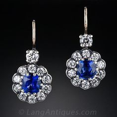 Sapphire and Diamond Halo Drop Earrings - 20-1-4916 - Lang Antiques