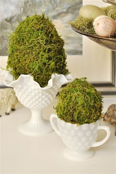 DIY Moss Covered Easter Egg Decor~T~ These look so pretty with some colored eggs and Spring flowers.