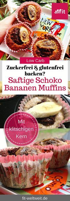 #Rezept Frische Bananen #Schoko #Muffins mit Reismehl (siehe Blog) Einfache Muffins Rezepte, Muffins zum Kindergeburtstag, Muffins Rezept einfach, Muffins für Kinder, Muffins mit Banane ! Extra Trick für einen flüssigen Kern: Wenn du möchtest, dass der Kern der Schoko´Muffins noch flüssig ist, habe ich den perfekten Trick für dich. Alle gesunden Zutaten für die Muffins (#zuckerfrei #glutenfrei) findest du auf meinem Blog. Die Muffins sind auch perfekt als Zwischenmahlzeit oder fürs Büro. Stevia, Vegan Recipes, Food Porn, Food And Drink, Diet, Breakfast, Healthy, Easy, Desserts