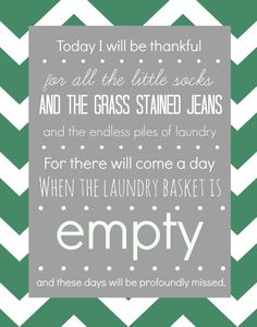 This free laundry room printable reminds me to cherish my little ones while they are still you! Even though laundry is still a pain, I love this quote.
