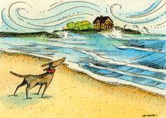 Original ACEO Watercolor - Windy Shore by Artist Nicole Wong / etsy PainterNik