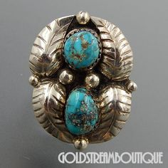 NATIVE AMERICAN VINTAGE NAVAJO STERLING SILVER TURQUOISE SWIRLED FEATHERS WIDE RING SIZE 6.25