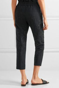 Brunello Cucinelli - Cropped Embellished Pinstriped Wool And Linen-blend Straight-leg Pants - Midnight blue