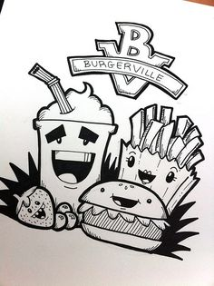 10 Black And White Pineapple Doodle Ideas Easy Disney Drawings, Easy Doodles Drawings, Mini Drawings, Kawaii Drawings, Art Drawings Sketches, Cute Doodle Art, Doodle Art Designs, Doodle Art Drawing, Doodle Art Letters