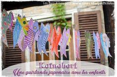 Fabriquer un koïnobori avec les enfants  La cour des petits http://www.lacourdespetits.com/fabriquer-koinobori-enfants/ #koinobori #craft #bricolage #poisson #guirlande