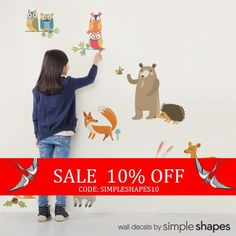 Woodland Animals Peel and Stick Reusable Wall Stickers. Use your walls and our Peel & Stick Wall Stickers as a learning tool! Each animal is its own sticker that your child can peel off and stick to the wall. You will love the fact that they can peel off and move the stickers around as they please.  You can add additional sets of animals now or later when you feel the need to refresh your walls!  [Size] Bear (approx): 12w x 20h Deer (approx): 13.5w x 17h Fox (approx): 12.5w x 12h Racoon ...