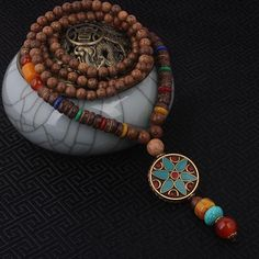 Tibetan Flower of Life Mala Necklace