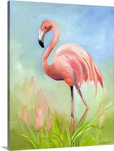 Amy Hautman Solid-Faced Canvas Print Wall Art Print entitled Flamingo Great Pink Heron, None Flamingo Painting, Flamingo Decor, Pink Flamingos, Canvas Wall Art, Wall Art Prints, Canvas Prints, Big Canvas, Framed Prints, Flamingo Pictures