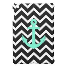 Tiffany Mint Blue Chevron anchor pattern iPad Mini Cases