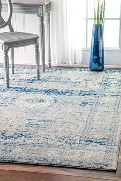 Traditional Vintage Faded Wreath Medallion Blue Area Rugs...