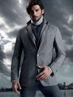 Masculine and Elegance man's fashion apparel classy grey man with scarf - Corneliani F/W 2013 Campaign Sharp Dressed Man, Well Dressed Men, Dolce & Gabbana, Fashion Moda, Mens Fashion, Fashion Tips, Urban Fashion, Fashion Outfits, Blazers