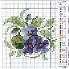 """Lovely heart things: Waiting for Spring """"Violets"""" (collection schemes) Small Cross Stitch, Cross Stitch Art, Cross Stitch Flowers, Cross Stitching, Cross Stitch Embroidery, Embroidery Patterns, Funny Cross Stitch Patterns, Cross Stitch Designs, Hama Mini"""
