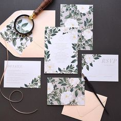 White, green, taupe and blush #lux #stationery #design #weddinginvitations #botanical #typography #spring #floral #rachelmarvincreative