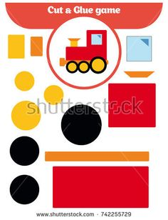 Paper game for the development of preschool children. Cut parts of the image and glue on the paper. Vector illustration