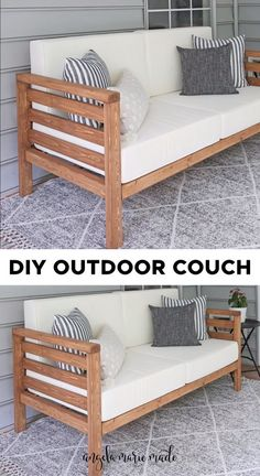 Diy Furniture Couch, Outdoor Furniture Plans, Diy Sofa, Pallet Furniture, Furniture Design, Farmhouse Furniture, Diy Daybed, Steel Furniture, Outdoor Couch