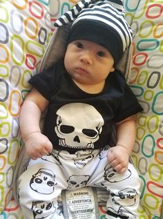 I put this outfit on my son today and he went into badass baby mode #skullnique #loveskulls #skull #skulls #fashion #skulllover #skeleton