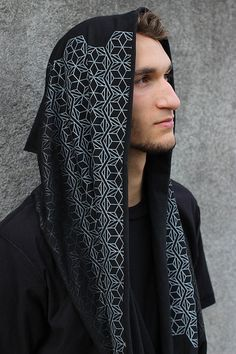 Fade to Black Infinity Scarf - Hexagon Honeycomb Pattern - Sacred geometry Clothing
