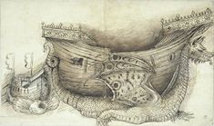 Pisanello (Antonio Pisano), 1394?-1455, Italian, Two hulls of ships brought one by a fish, the other by a dragon - from the Codex Vallardi, 15th century. Pen and brown ink, brown wash, preparatory drawn in black chalk (or charcoal ?), 24.2 × 40.8 cm. Musée du Louvre, Paris. Early Renaissance.