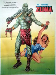 Watch The Water Zuma. Zuma is a movie remake of one of the oldest and most popular comic books in the Philippines. It stars Zuma, a creature donning a snake over his shoulder which perfectly accentuates his monster-like features. All Movies, Sci Fi Movies, Horror Movies, The Stranger Movie, Cool Posters, Movie Posters, Filipino Culture, Half Man, Thing 1