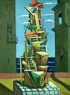 Giorgio De Chirico, By the sea     GIORGIO DE CHIRICO (Vòlo, 10 luglio 1888 – Roma, 20 novembre 1978)   #TuscanyAgriturismoGiratola