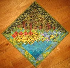 Summer Trees Turquoise Water Art Quilt Wallhanging by TahoeQuilts