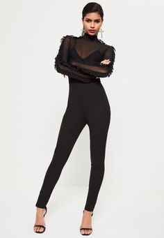 7a81371ec95 Missguided - Black Mesh Top Frill Sleeve Jumpsuit Jumpsuit With Sleeves