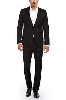 'Aeron/Hamen' | Slim Fit, High Pigmented Super 130 Virgin Wool Suit, Black