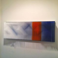 """Jose Margulis Abstract Sculpture - """"Alpine Landscape"""" J Margulis Kinetic Art Lucite Brushed Aluminum Red Blue White Abstract Sculpture, Sculpture Art, Kinetic Art, Acrylic Sheets, Plastic Sheets, Mexican Art, Saturated Color, Graphic Patterns, Wall Sculptures"""