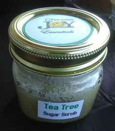Tea Tree Sugar Scrub - 8 oz jar $10  Ingredients: Sugar, Coconut Oil, Parsley Powder & 100% Pure Tea Tree Essential Oil